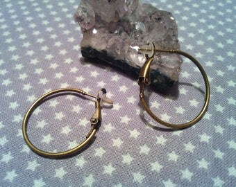 Set of 10 blank loops / rings 25 mm bronze