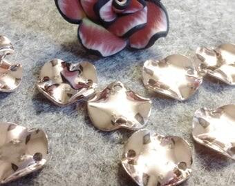 ☆ 10 connectors brass connectors, twist, 11 mm round rose gold