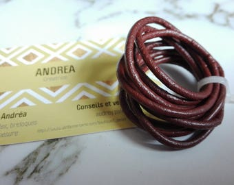 1 m of leather cord, 2mm, chocolate.