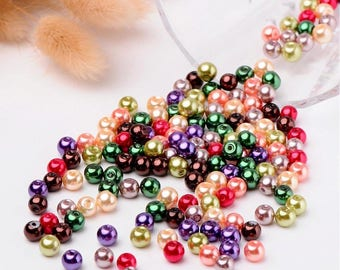 Set of 50 beads in assorted pearl beads diameter 6 mm-P001