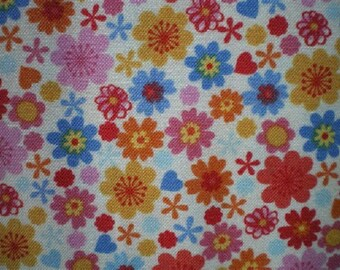white background and flowers patchwork fabric multicolored refbugsflower