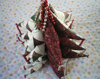 Red and white patchwork fabric Christmas tree