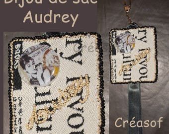 Embroidered fabric bag and button Audrey Hepburn