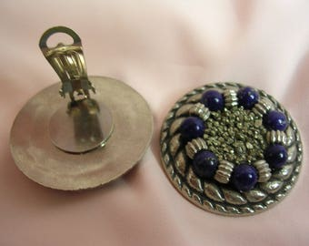 Clip on earrings in natural stones of Pyrite and Lapis Lazuli - OOAK