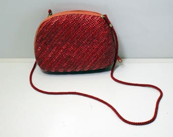 Vintage Red Woven Straw Purse