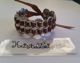 Bobbin and Satin Brown Ribbon bottle cap bracelet