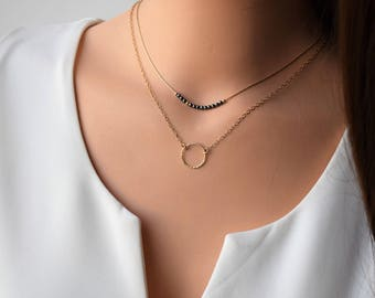 Gold Layered Necklace, Set Of 2 Gold filled Necklaces, Hematite Necklace, Gold Circle Necklace,Double Layered Necklaces,Dainty Gold Necklace