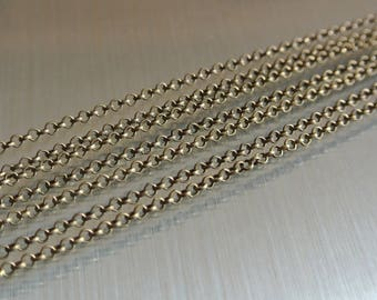 chain 1 meter bronze 2 x 0.5 mm closed round links and Belcher mesh, metal bronze