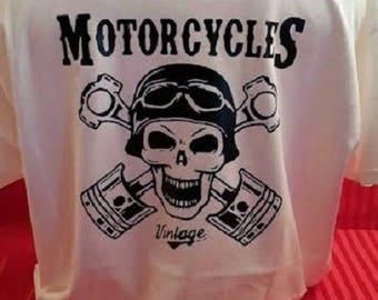 """t-shirt men printed back """"MOTORCYLES, vintage"""""""