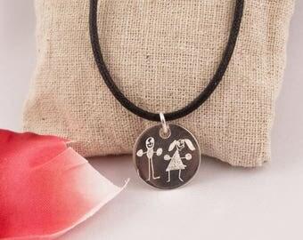 Silver engraved thank you design pendant centerpiece