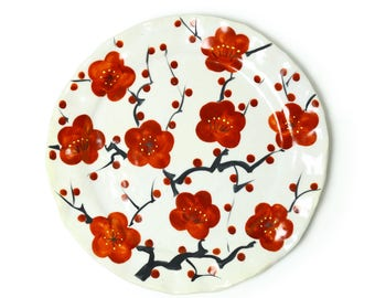Hand Paint Red Ume - Round Plate, Blooming plum flower, spring, celebration