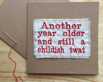 Embroidered Handmade Comedy Birthday Card