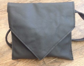 Handmade charcoal leather shoulder bag with green lining