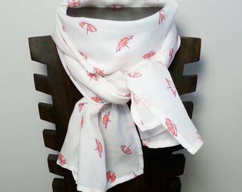 Echarpe légère / foulard / chèche pour enfant en viscose motif parasols roses