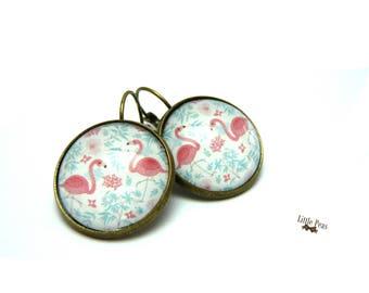 Flamingo vintage glass dome earrings
