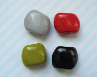 Set of 4 glass beads 10mm diam 4 colors