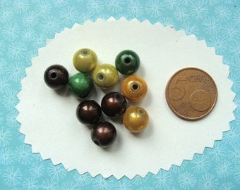 Set of 10 magic beads 10mm 4 colors