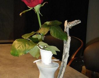 Romantic Soliflore vase, porcelain and concrete