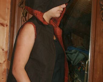jacket reversible linen and wax Senegalese hooded hole