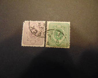 Old German Stamps from the 1870s**3 & 5 Pfennige** Scott#29-30 Used*True Vintage