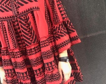 "Boho Red & Black ""Divi"" dress"