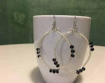 Large Wire Wrapped Hoop Earrings with Black Beads