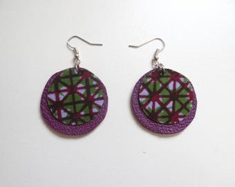Purple and green leather earrings