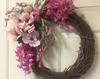 Pretty In Pink Grapevine Wreath