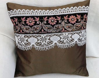 Pillow color taupe and the Lyon silk embroidery