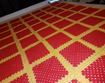 Hand-made afghan blanket/throw, red and yellow patterns