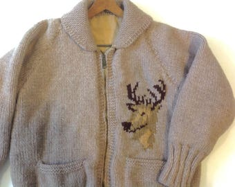 1950s / 60s cowichan heavy knit deer sweater with lining / vintage cowichan
