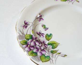 """Royal Albert """"Violets"""" Salad Plate, Vintage China Flowered Plate, Purple Violets, Flower of the Month Series, Replacement Plate"""