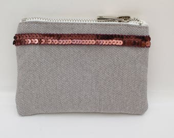 Wallet Brown-gray light cotton with Burgundy sequins