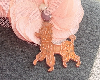 PURE vintage copper poodle year 1940 in the United States, choose spacer link pendant