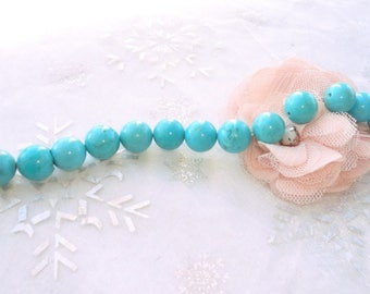 13 x 10 mm round natural turquoise beads