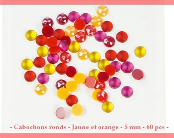 Mini round cabochons - yellow and orange - 5 mm / / 0.5 cm - 60 pcs - new