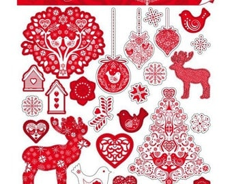 Stickers Christmas Scandinavian Toga - 2 sheets of 15 x 15 cm - 48 stickers.