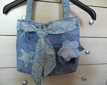 Handmade recycled denim bag.