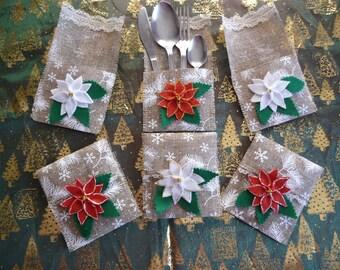 Lot 6 ranges cutlery or burlap gift bag.