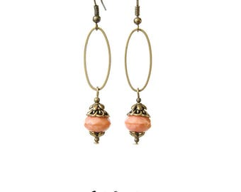 Retro earrings romantic Bohemian Pink salmon and bronze