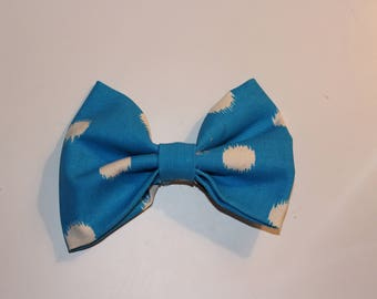 Blue and White dotted bow