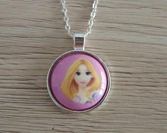 "children necklace Princess ""Rapunzel"" metal silver"