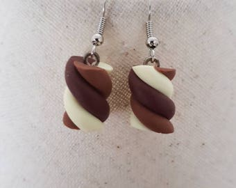 """""""chocolate Marshmallow"""" hook earrings with polymer clay"""