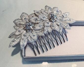 Bridal Hair Barrette With Silver Flower Applique
