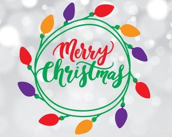 Merry Christmas svg, Christmas svg file, Christmas lights svg, Merry Christmas clip art, Merry Christmas dxf, Merry Christmas cut file