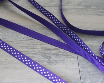 2 m 60 dots on Purple 9mm grosgrain Ribbon