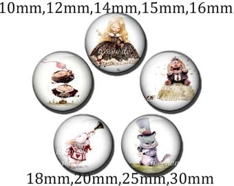 5pcs Y211 Cabochons manual diameter of 10mm 12mm 14mm 15mm 16mm 18mm 20mm 25mm 30mm Alice to the land of Wonderland, Alice in Wonderland Rovers