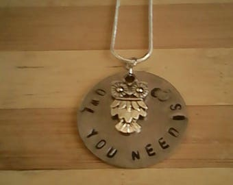 Hand stamped necklace with charm