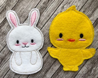 Easter Finger Puppets - Pretend Play, Quiet Play, Party Favour, Felt toy, machine embroidered,