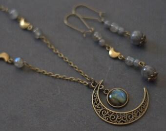 "Adornment necklace and Earrings ""Gealai"" Moonstone, Labradorite, Larvikite, Bronze, patina hand made, magic"